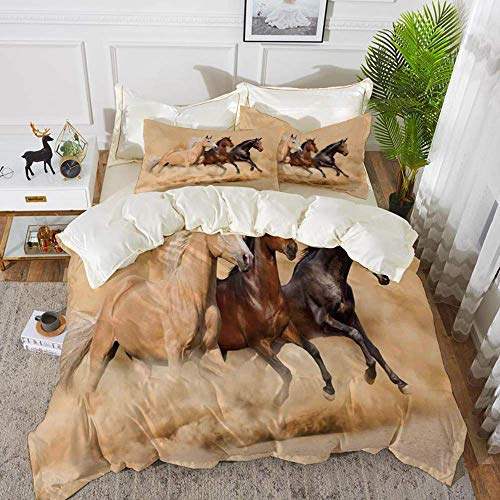779 Horses,Three Horse Running in Desert Storm Mythical Mystic Messenger Animals Habitat Pr,Hypoallergenic Microfibre Duvet Cover Set 230 x 220cm with 2 Pillowcase 50 X 80cm