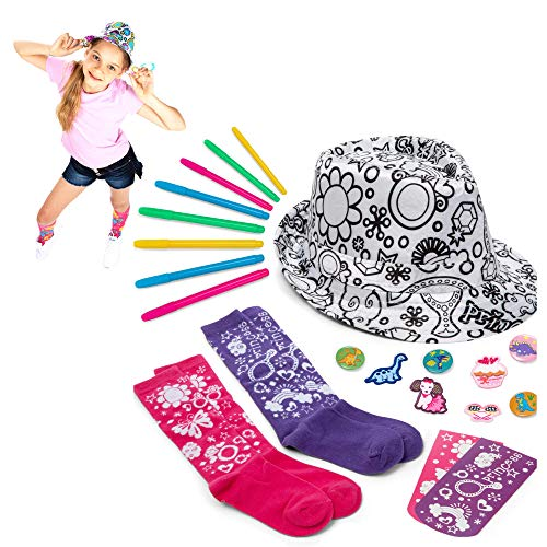 Color your own PRINCESS Girls Fedora & Socks,diy...