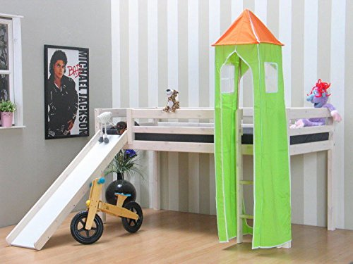 Thuka Kinder Turm Spielturm für Kinderbett Hochbett Rutschbett Bett grün orange