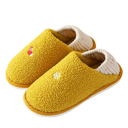 Ladies' Cozy Memory Foam Slippers with Warm Fuzzy Faux Fur Lining House Shoes with Removable Sole And Elastic Heel Cradle Yellow
