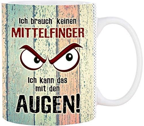 Cadouri Tasse mit Spruch ICH BRAUCH' KEINEN MITTELFINGER Kaffeetasse Bürotasse┊tolle Geschenkidee