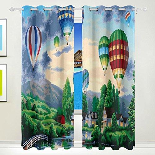 LIANCHENYI Heißluftballons Gemälde Fenster Verdunkelungsvorhänge mit Öse, 140 x 213 cm, verdunkelnder Vorhang für Schlafzimmer, Wohnzimmer, inklusive 2 Paneele