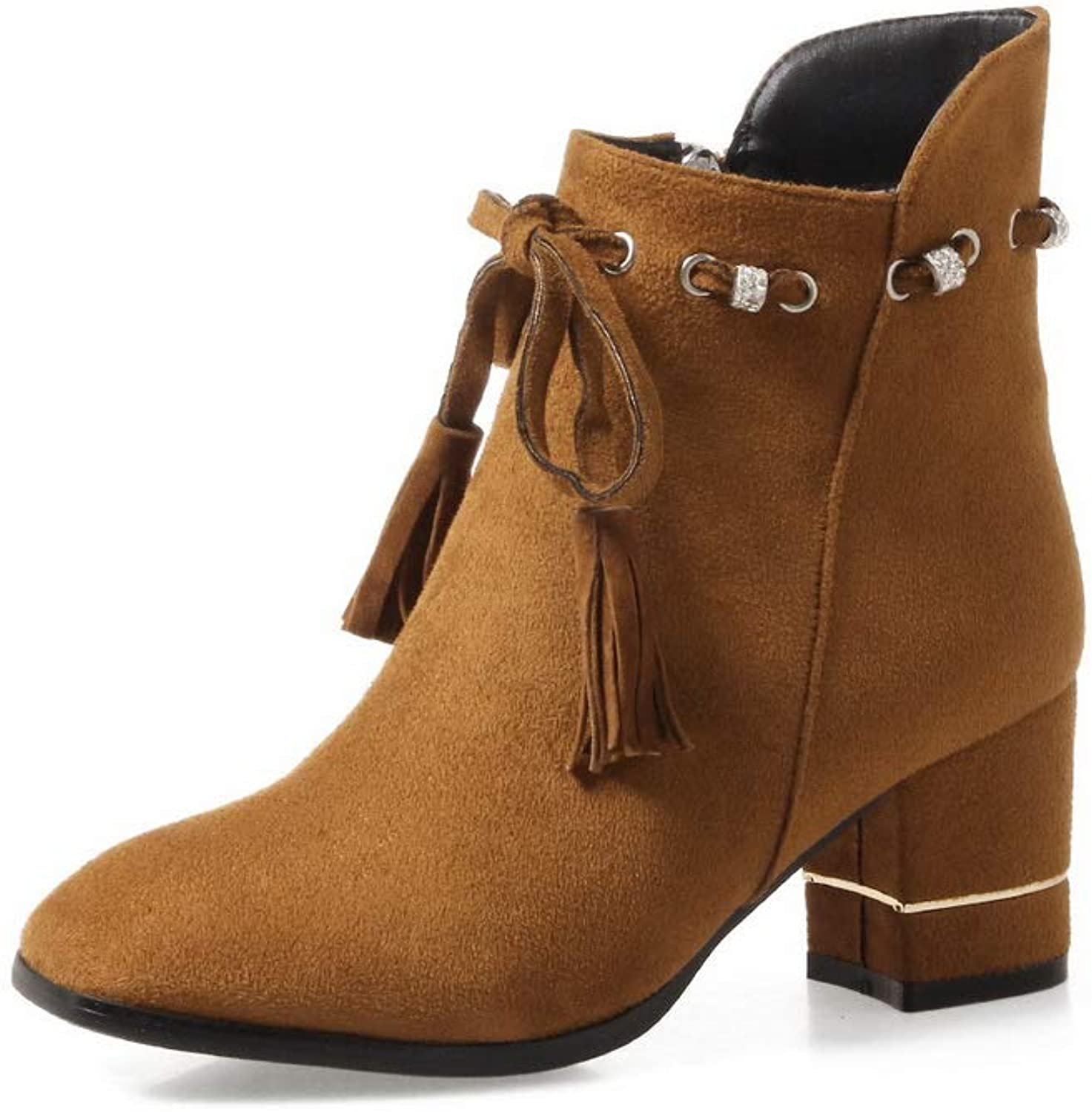 AN Womens Chunky Heels Tassels Imitated Suede Boots DKU02511