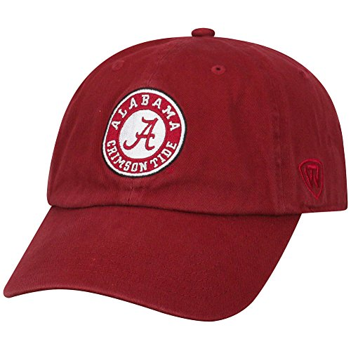 Top of the World NCAA Alabama Crimson Tide Male NCAA Men's Adjustable Hat Relaxed Fit Team Arch, Cardinal