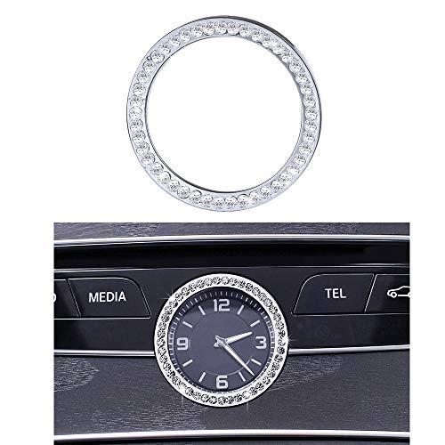 VDARK - Accessori Mercedes Benz Bling W205 W213 C217 C E S classe AMG orologio rotondo consolle centrale centrale, coperture adesivi per interni, decorazione centrale donna uomo cristallo (argento)