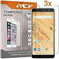 REY 3X Protector de Pantalla para BQ AQUARIS X2 - X2 Pro, Cristal Vidrio Templado Premium