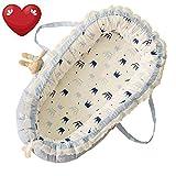 TEALP Kuschelnest Babynest Multifunktionales Nest für Babys Säuglinge Reisebett, 100% Baumwolle, Krone, Blau und Weiß(0-24 Monate)