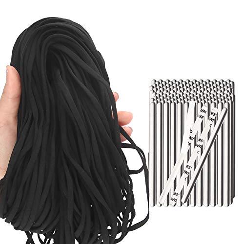 "54 Yds Black 1/5"" Flat Elastic Band Ear Loop Cord+50PCS Aluminum Nose Bridge Self-Adhesive Clips DIY Handmade Sewing Craft High Elasticity Stretch String Flexible Strip Adjustable Metal Bendable Wire"