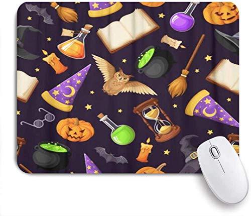 Gaming Mouse Pad Rutschfeste Gummibasis, Magische Symbole Bücher Kessel Sanduhr Eulen Laternen, für Computer Laptop Schreibtisch