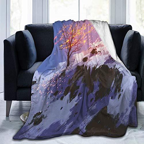 Manta suave y esponjosa, paisaje mágico con un árbol desnudo en el valle de invierno con nieve, súper suave, manta de forro polar, manta para bebé, dormitorio, cama, TV, manta de 152 x 127 cm