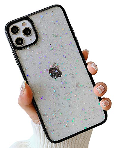 KERZZIL Cute Slim Compatible with iPhone 11 Pro Max Case, Elegant Clear Sparkle Bling Glitter Stars Design for Women Girls Teens Soft TPU Anti-Scratch Protective Durable Cases Cover(Black)