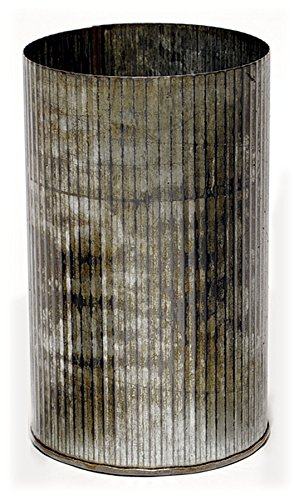 Accent Decor Corrugated 7.25-Inch Zinc Metal Cylinder Pot/Vase, Rustic Finish