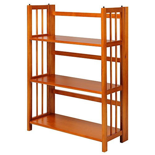 "Casual Home 3-Shelf Folding Stackable Bookcase (27.5"" Wide)-Honey Oak"