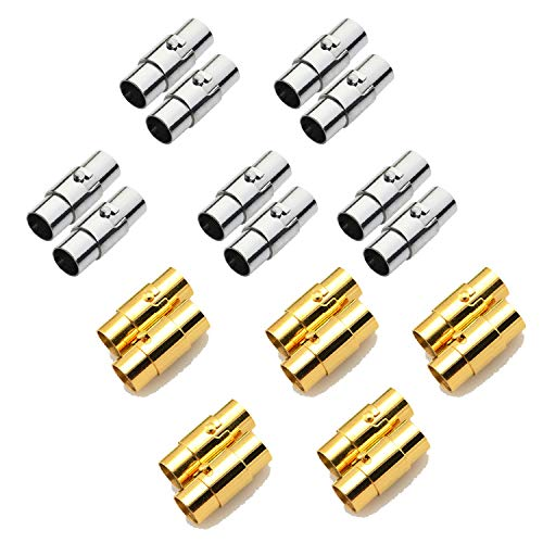 REKYO 20 PCS Magnetic Jewellery Bracelet Clasps for Leather Necklace Bracelet Cord End Caps for Jewellery Making (gold+silver 4mm)
