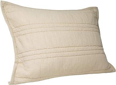 ELEGANT LIFE HOME Zen Collection 2 Layers Cotton Crinkle Gauze Stripe Embroidery Washed Pillow Sham, King 20'' x 36'', Khaki