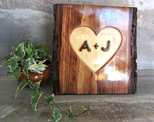 5 year Wood Anniversary Gift for Him Her, Personalized Carved Initials Tree Bark Wood Wedding Sign