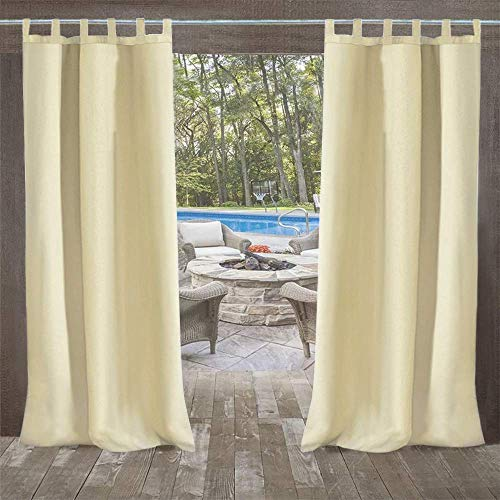 UniEco Outdoor Vorhang mit Schlaufen Gartenlauben Balkon-Vorhänge Verdunkelungsvorhänge Wasserdicht Mehltau beständig für Pavillon Strandhaus, 1 Stück,132x215cm,Beige