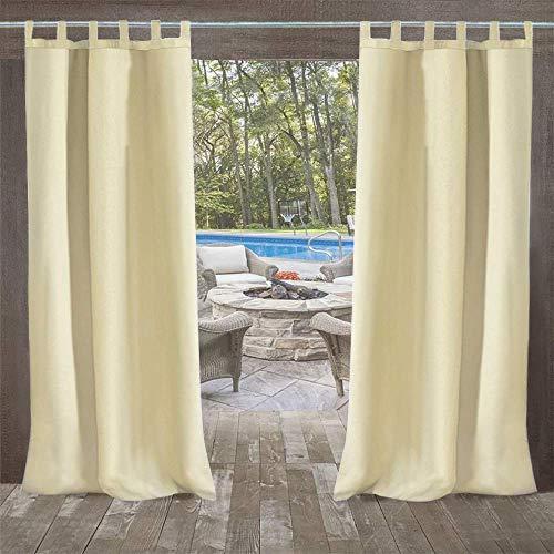 UniEco - Cortinas opacas para exteriores, diseño de globo, impermeables, resistentes al moho, para pabellón, casa de playa, 1 pieza, 132 x 215 cm, color beige