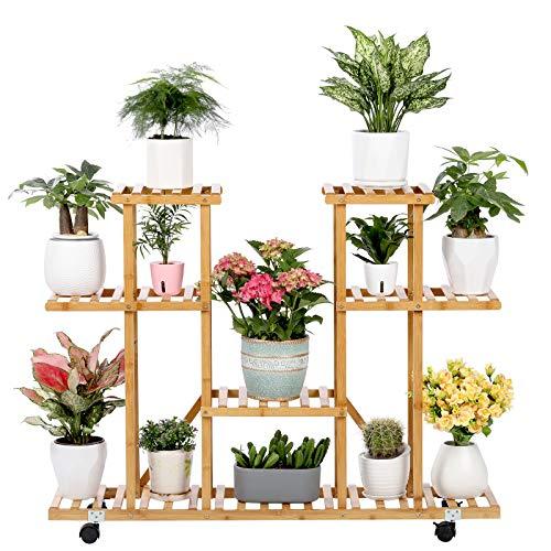 Bamboo Plant Stand Rack with Wheels 4 Tier Indoor&Outdoor Rolling Plant Flower Pots Holder Shelf Planter Display Shelving Unit for Patio Garden, Living Room, Corner Balcony and Bedroom (13 Flowerpots)