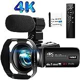 Videokamera 4K Camcorder 30FPS 48.0MP Videokamera 3.0 Zoll LCD Flip Screen Vlogging Kamera mit...