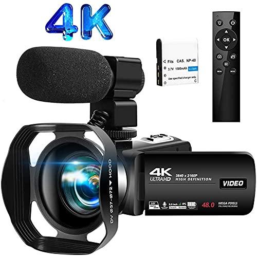 Videokamera 4K Camcorder 30FPS 48.0MP IR Nachtsicht Videokamera 3.0 Zoll LCD Flip Screen Vlogging Kamera mit Mikrofon und 2.4G Fernbedienun