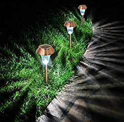 Enchanted Spaces Copper Solar Path Light, Set of 6, with Glass Lens, Metal Ground Stake, and Extra-Bright LED for Lawn, Patio, Yard, Walkway, Driveway