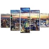 Cuadros decoracion salon Lienzo HD impresiones carteles arte de pared 5 piezas de rascacielos de la ciudad de Nueva York pinturas de paisaje nocturno edificio decoración del hogar Con marco 150X80CM