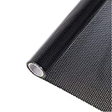 HOHOFILM Perforated Mesh Window Film Self Adhesive Black Dotted One Way Film Privacy Stickers for Home Office 35.4'x78.7'