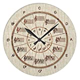 Rustic Wall Clock for Living Room Decor Circle of Fifths Look of Wood for Musicians Nursery Wood Wall Clock for Bedroom Decor 12 inch