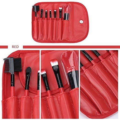7 brosse pinceaux en fibre de maquillage artificiel ensemble avec des modèles portables multi-couleurs manche en bois outils de beauté (Size : Red)