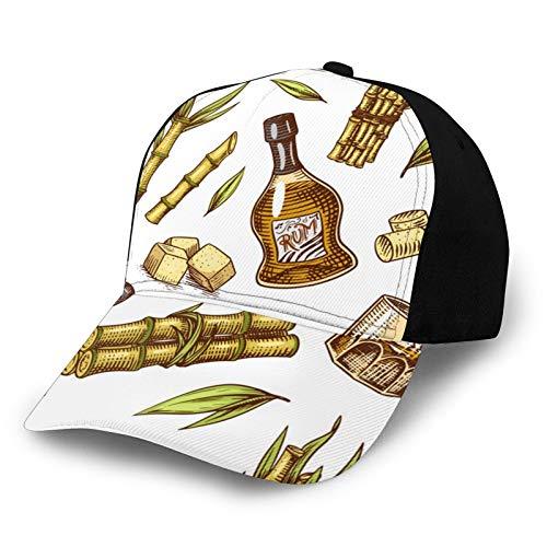 Cane Sugar Cane Basecap mit Zuckerrohr-Pflanzen, modische gebogene Papa-Hüte, Köper, verstellbar, Anti-UV-Sonnenhut, für Männer und Frauen, schwarz