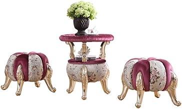 AINIYF Sectional Sofa Set, 3-Piece Living Room Furniture, Antique European Armchair, Table/(Pink) (Color : B2)