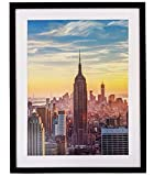 Frame Amo 22x28 Black Picture Frame with 17.5x23.5 White Mat Opening for 18x24 Image, 1 Inch Border, Acrylic Face