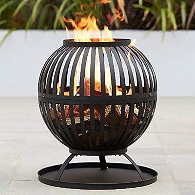 Expert Grill Large Lantern Style Globe Fire Pit (Wood or Charcoal, Basket Log Burner Garden Heater, Chimenea Patio Wood Chiminea Tall) from Asda