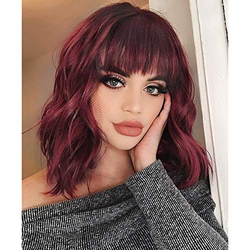 AISI HAIR Synthetic Curly Bob Wig with Bangs Short Bob Wavy Hair Wigs Wine Red Color Shoulder Length Wigs for Women Bob Style Synthetic Heat Resistant Bob Wigs