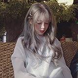 Peluca Lolita cos flequillo de aire largo y rizado abuela color gris casco completo