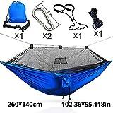SHLYXY Hamaca de Camping,Hamaca Doble paracaídas de Camping con Accesorios de Montaje-Mosquitera Azul-1,para Terraza, Balcón, Jardín, Exterior, Camping