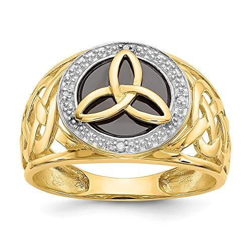 14ct y rodio Onyx anillo diamante en bruto - Talla L 1/2 - JewelryWeb