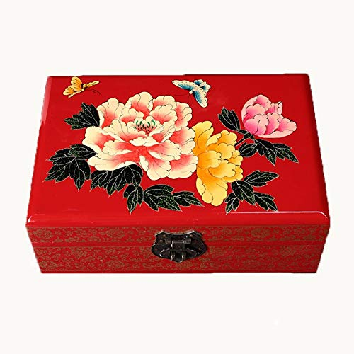 TXOZ-Q - Cofanetto portagioie in stile retrò, in legno, con specchio, dipinta a mano, stile tradizionale cinese