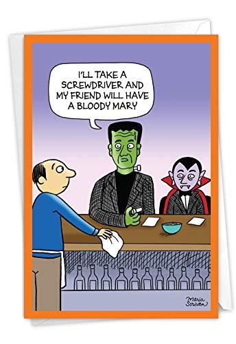 NobleWorks - Happy Halloween Card Funny - Fun Cartoon Humor, Spooky Greeting Notecard with Envelope - Monster Drinks C7087HWG