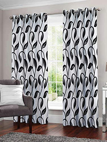 Story@Home Combo Set of 6 Piece Modern Polyetser Eyelet Floral Pattern Ringtop Printed Door Curtains - 7 Feet, Black