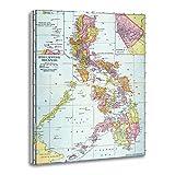 TORASS Canvas Wall Art Print Filipino Map Philippines 1905 Island River Turn Century Artwork for Home Decor 12