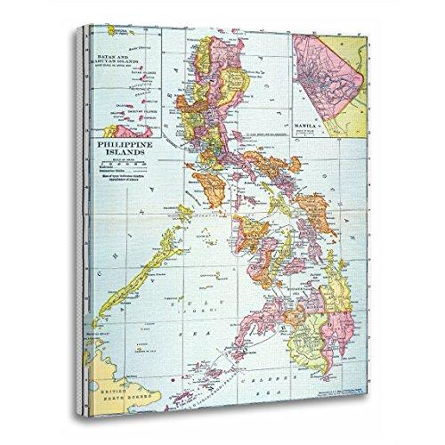 TORASS Canvas Wall Art Print Filipino Map Philippines 1905 Island River Turn Century Artwork for Home Decor 12' x 16'