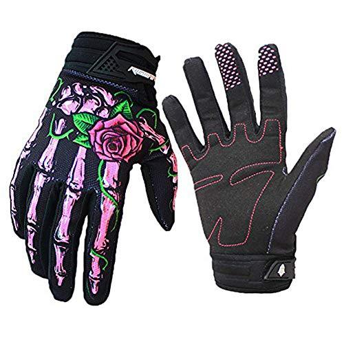 RIGWARL Cycling Gloves Skull Zombie Bone Design Cycling Climbing Motorcycles Cycling Gardening Gloves Men & Women (Pink, S)