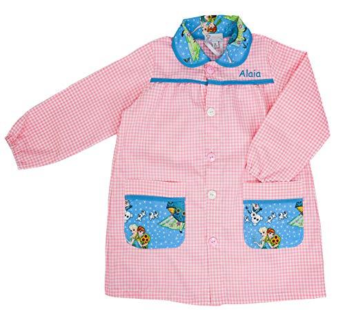 Babi Escolar Infantil - Bata para Colegio - con Nombre Bordadoen Turquesa - Estampado de Frozen - Color Rosa y Turquesa - Mandilón Escolar para Niños - De 5 a 6 años - Hecho en España - Nenel