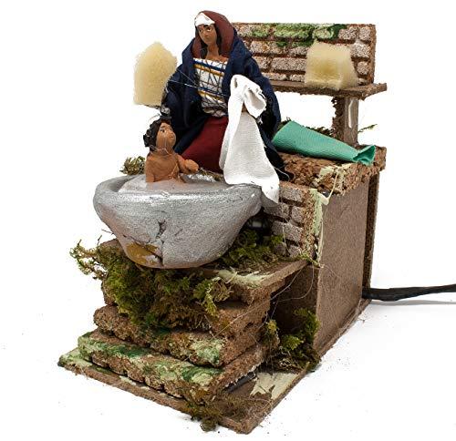 Joy Christmas Pastore Per Presepe In Movimento 14 Cm X 9 Cm Donna Che Lava Bambino 37933