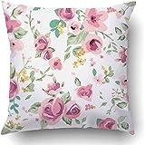 Fundas de cojín Flores de color rosa Primavera Lindo Tiny Vintage Floral Patrón de flores Resumen Retro Jardín Verde azulado Turquesa Poliéster Pulgadas Cuadrado Cremallera oculta Funda de almohada de