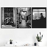 KWzEQ Cellist Front Door Vintage Wall Art nórdico Lienzo Pintura Cartel en Blanco y Negro Imagen Sala decoración-Frameless painting30x40cmx3