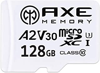 Axe 128GB microSDXC Memory Card + SD Adapter with A2 App Performance, V30 UHS-I U3 4K - AXS2A128