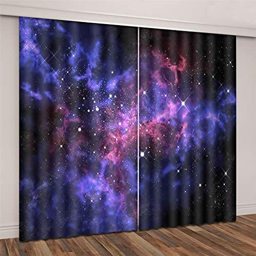 JMHomeDecor Cortinas Opacas Opacas Hermoso Espacio Púrpura Y Estrellas Impresión 3D Tela De Seda Negra Cortinas con Ojales con Aislamiento Térmico 290 (H) X140 (An) Cmx2